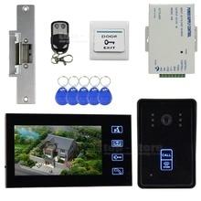 DIYSECUR Huelga Lock Táctil Video de La Puerta de Intercomunicación Teléfono Timbre Seguridad Para El Hogar Cámara Del Monitor RFID Lector Home Portero
