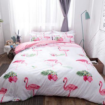 Flamingo ostrich Bedding Sets White pink 3pcs soft bedclothes duvet cover quilt cover pillow cases BeddingOutlet Modern fashion