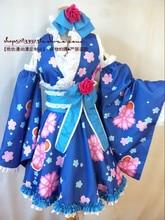 Anime Cosplay de LoveLive Sonoda Umi Cos Fiesta de Halloween set Completo 5en1 (Kimono + mangas + falda + faja + Headwear