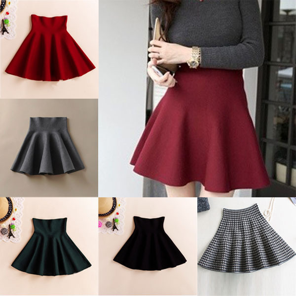 61318ad22f03f 2016 New Spring Summer Casual Sexy Women Mini Skirt High Waisted Flared  Pleated Jersey Plain Skater Short Knitted Elastic Skirt -in Skirts from  Women's ...