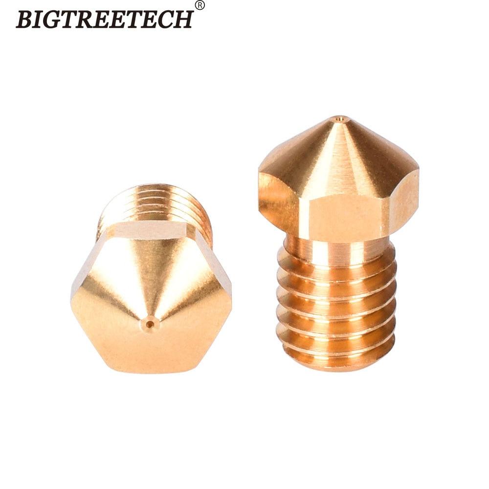 BIGTREETECH Hig качественные латунные сопла V6 1,75 нити 0,2 0,4 мм 0,6 мм сопло для CR10 J тепловой hotend экструдер медный 3D принтер
