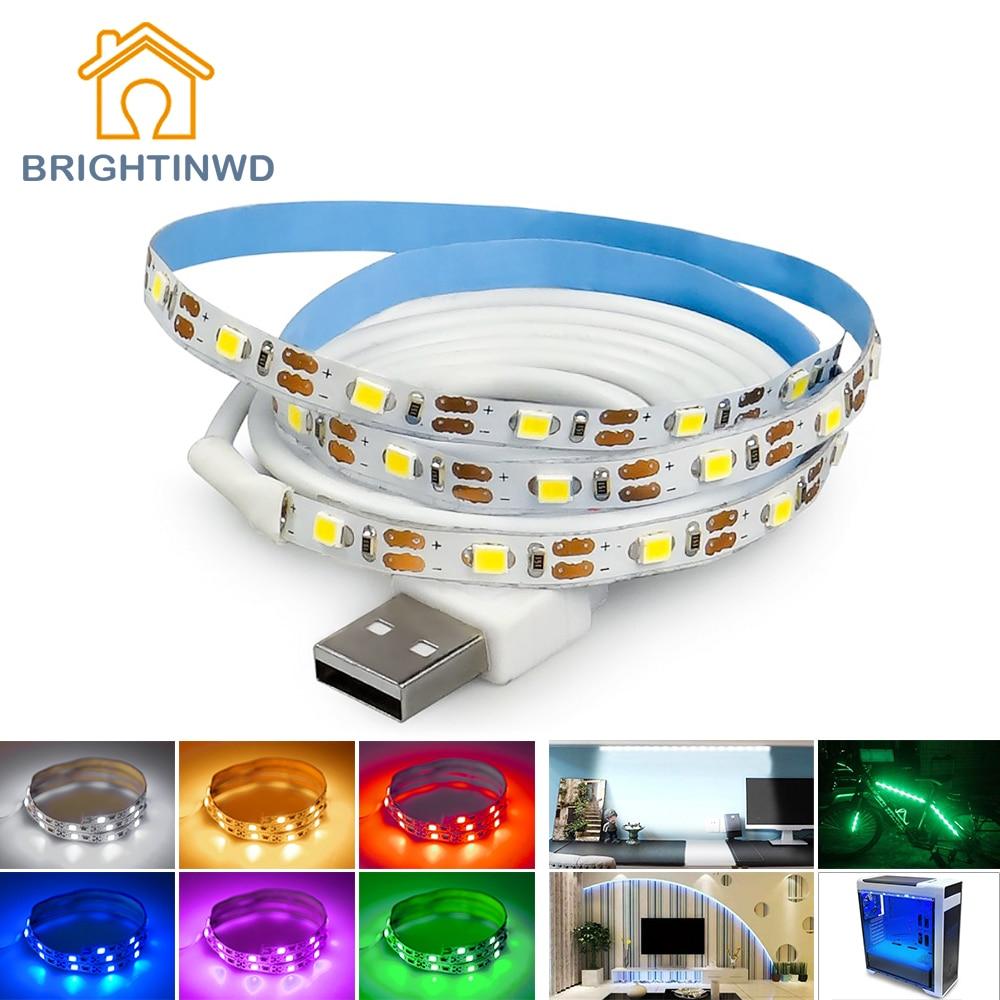 5V TV fona apgaismojums USB LED sloksne SMD3528 apgaismojums 50M 1M - LED Apgaismojums - Foto 2