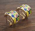 Big Size 1.8CM Diameter Gold Plated Colorful Enamel Earrings For Women New Fashion Jewelry 2016