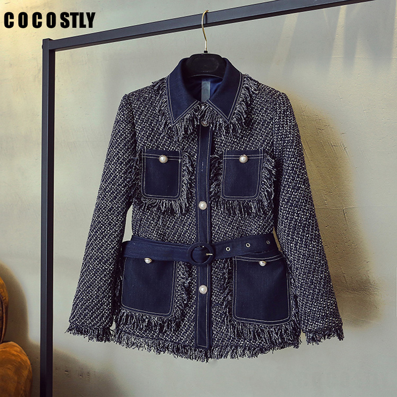 2019 Autumn and Winter Jacket Women's Jeans Stitching Coarse Tassel Tweed Jacket Ladies Retro Single breasted Wool Coats