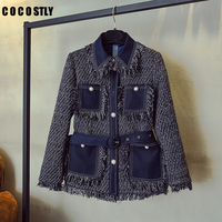 2019 Autumn and Winter Jacket Women's Jeans Stitching Coarse Tassel Tweed Jacket Ladies Retro Single breasted Wool Coats