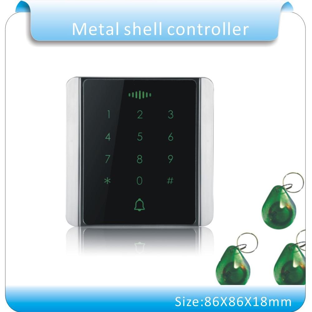 Free Shipping 125KHZ rfid access control rfid card access control Metal touch keypad access control +10pcs jade style keyfobs стоимость
