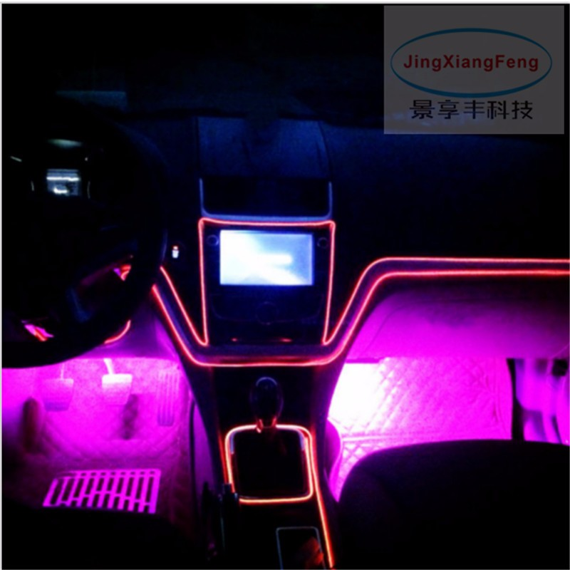 JingXiangFeng 10-Color 1M flexible neon light glow el salon wire flat led strip for car interior lights 12V Inverter Vehicle Car best price 4 way in 1 splitter cable for el wire tube neon strip light conected with inverter black