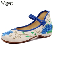 Chinese Women Flats Shoes Cotton Casual Blue And White Floral Embroidery Single Dance Ballerina Flats Shoes