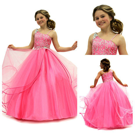 Ball gowns girls flower girl dress hot pink spaghetti straps beaded ball gowns girls flower girl dress hot pink spaghetti straps beaded bodice handmad kids pageant party mightylinksfo