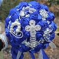 Luxury Royal Blue Tassels Diamond Wedding Bridal Bouquet Crystal Brooch Wedding Bouquet Silk Rose Artificial Flower Custom W235