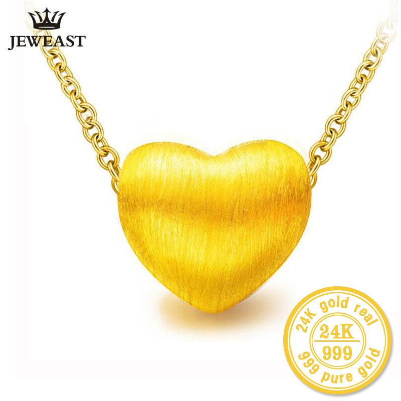 24k Pure Gold Charm Love Heart Real 999 Pendants Women Girl Miss Sister 3d Hard Gold Process Yellow Trendy 2017 New Hot Sale new pure au750 rose gold love ring lucky cute letter ring 1 13 1 23g hot sale