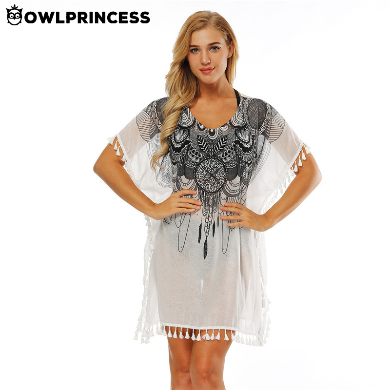 Owlprincess Sexy Printed Beach Cover Up Women Swimwear Ladies Beach Poncho Beachwear Cov ...