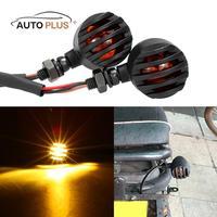2PCS Motorcycle Front Rear Blinker Turn Signal Light Amber Color Indicator Bullet Style For KTM Honda