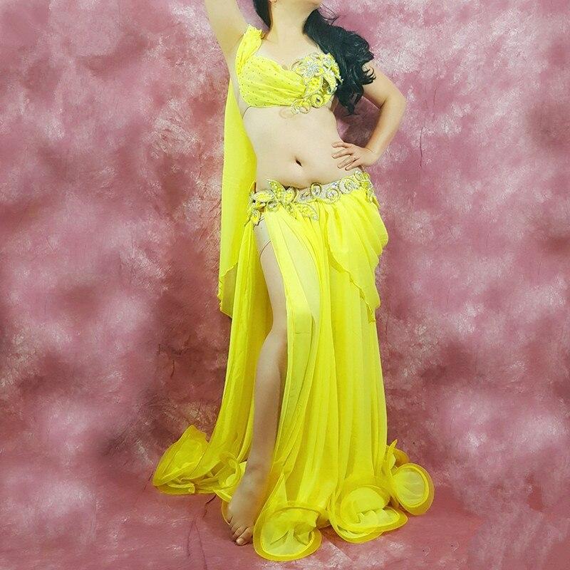 Oriental dancing costume Belly dance hair swinging Indian baladi saidi dance costumes Bellydance robe bra belt skirt dress 3262