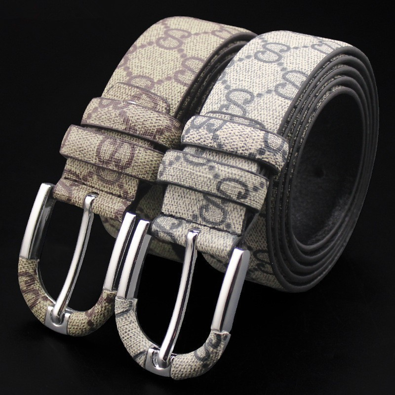 Real Leather Men's Belt Casual Pin Buckle Waist Belts For Men Fashion Student's Bovine Leather Lattice Jeans Girdle