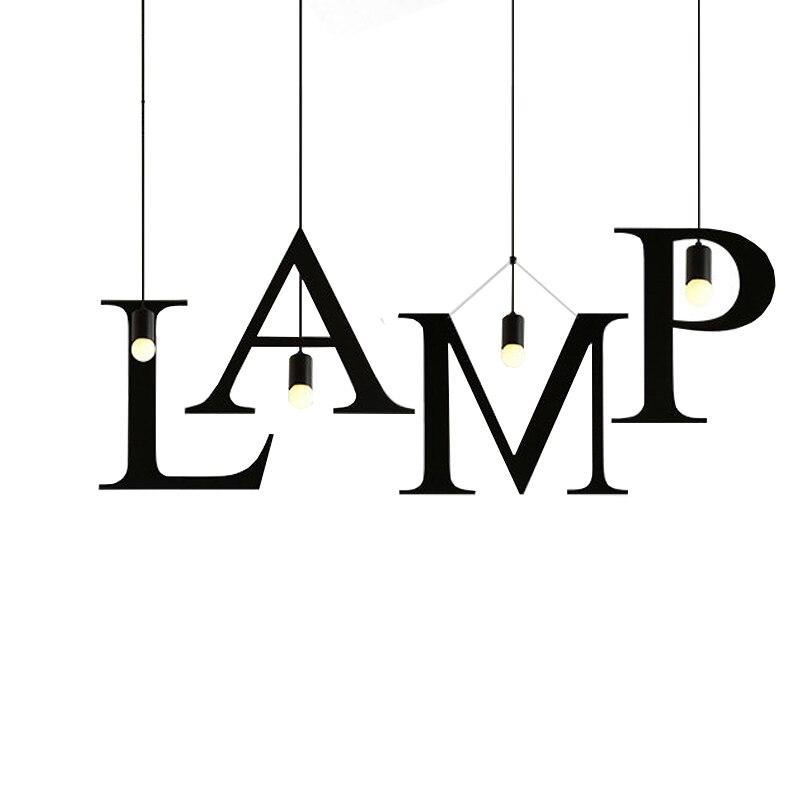 Bricolage créatif 26 lettres pendentif lumières fer industriel décor à la maison Bar Restaurant Suspension luminaria LED lampe suspendue AC90-220V
