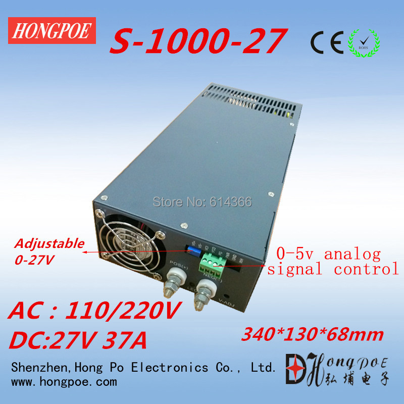 Free Shipping 0-5V analog signal control 0-27v  power supply 27V 37A power supply 1000W 27V power supply ac to dc 27V adjustable