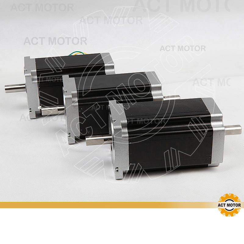 ACT Motor 3PCS Nema34 Stepper Motor 34HS5435B Dual Shaft 1600oz-in 3.5A Dual Flat Shaft CE ROHS ISO CNC Router Grind Engraver montford carbon fiber exterior rear