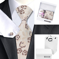 B-1200 Conjuntos Gravata corbatas hombre Floral Bege Saco Dos Homens Gravatas de Lenço Abotoaduras com Caixa Branca e Branco Laços Para Homens