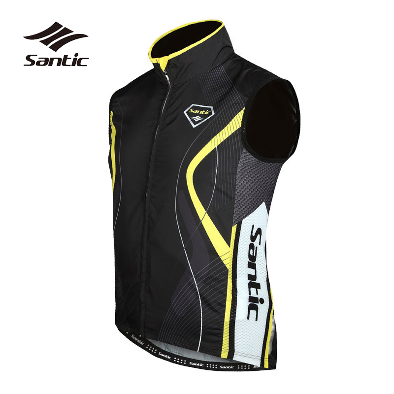 Santic Men Cycling Vest Spring Autumn Winter Pro Sleeveless Cycling Windproof Vest Bike Clothing Ropa Ciclismo Bicycle Top