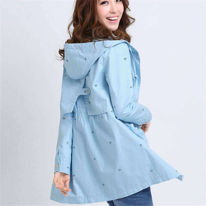 Fashion New 2019 Spring Women Casual Korean Loose Long-sleeved Trench Coat High Waist Ladies Hooded Outerwear for Girls  XH278
