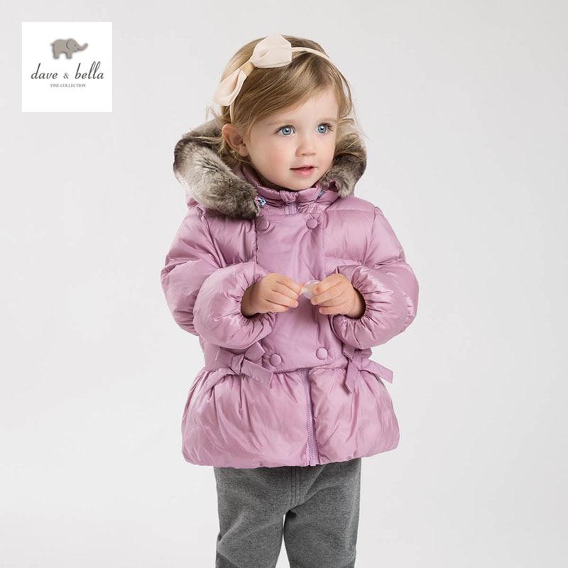 DB4660 davebella baby girls padded clothing hooded padded coat kidslavender down jacket
