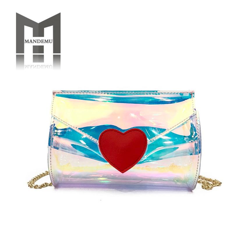 2019 Women Transparent Bag Clear PVC Heart Small Tote Messenger Bags Laser Holographic Shoulder Bags Female Crossbody Bag Purse