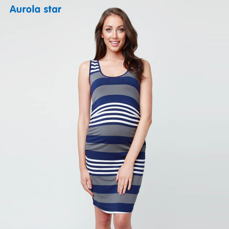Nursing Dress For Pregnant Women Cotton Striped Breastfeeding Nursing Clothes Casual Sleeveless O-neck Lactation Dresses Summer