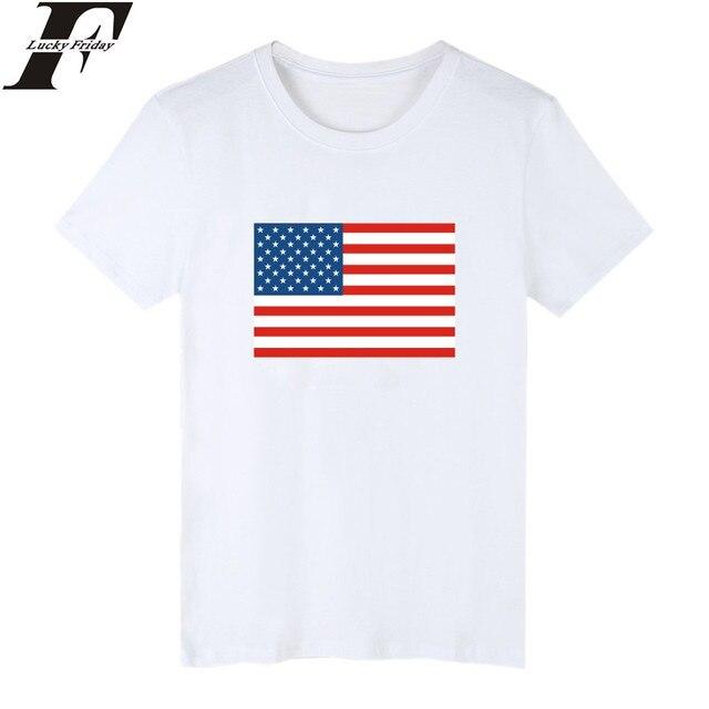 6b078e9406 LUCKYFRIDAYF A Bandeira Dos Estados Unidos Tshirt Dos Homens Curta  Nacionalidade DOS EUA de manga Plus