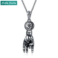 Vintage Stainless Steel Hand Palm Pendant Necklaces For Men Antique Silver Plated USA Soldier Cool Fashion