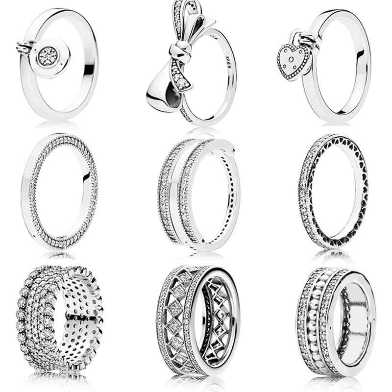 47fe0a641 Detail Feedback Questions about 2018 Authentic 925 Sterling Silver Original  Flipping Signature Hearts of Pandora Ring Clear CZ For Women Charm Gift DIY  ...