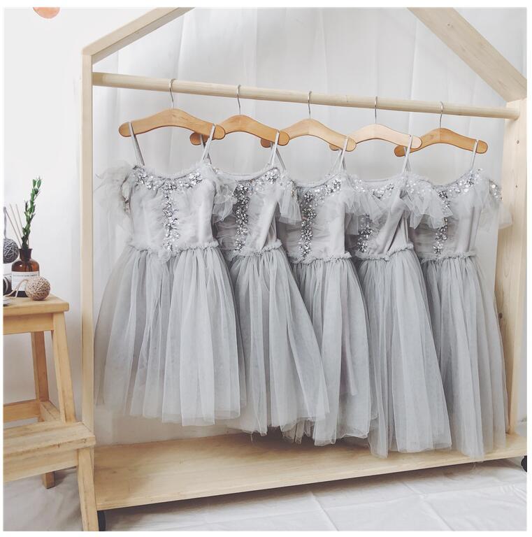 top market children girls beading lace dress kids off shoulder tulle dress toddler princess party dress ins fashion vestido