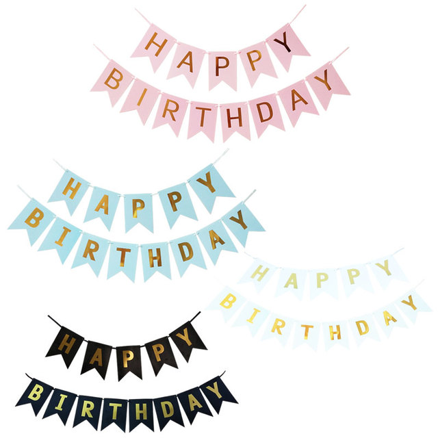 1Set Paper Happy Birthday Banner Party Decorations