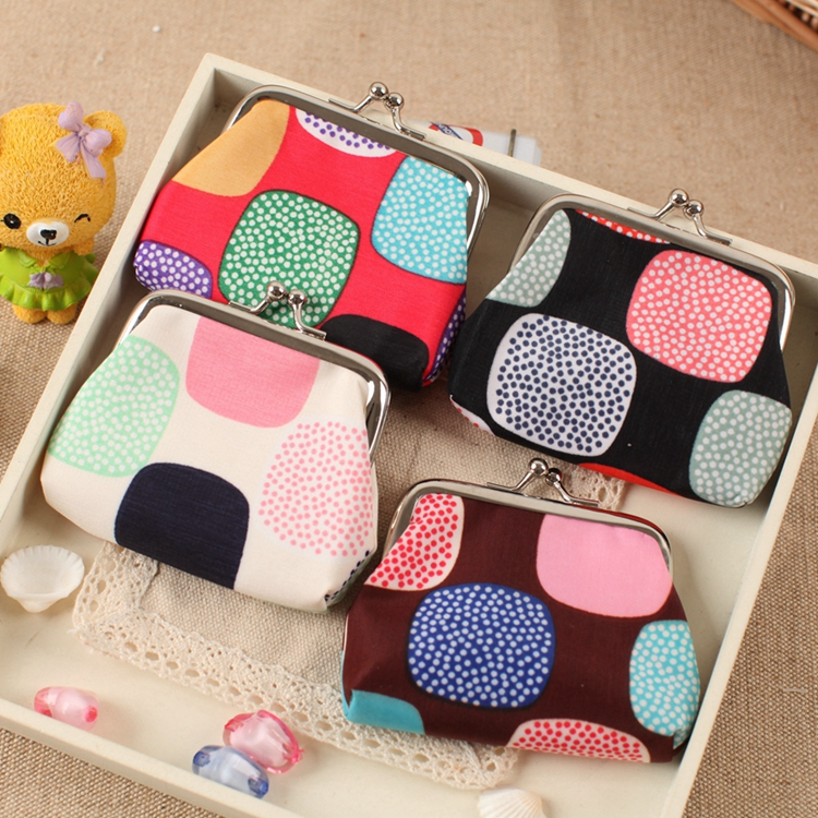 2016 Wholesale:12 PCS/LOT lovely Grid dot coin purse women hasp zero wallet,coin bag female change purse Cotton cloth key pouch стоимость