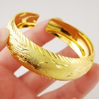 Thick Widest 18k Yellow Gold Filled Womens Cuff Bangle Patterned Bracelet Perfect Gift