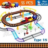 55pcs Multi layer Double Floor Electric Rail Train Kit Elevated Railway Road Track Diecast Kids Children Toys