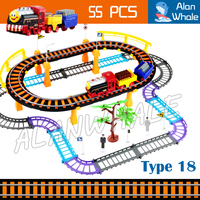 55pcs Multi layer Double Floor Electric Rail Train Kit Elevated Railway Road Track Diecast Kids Children Toys