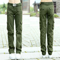 Army Green Cargo Pants Женщины 2016 Карман Брюки Причинные военные брюки Для женщин Армия женщин камуфляж свободные брюки