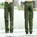 Exército Calças Cargo Verdes Mulheres 2016 Bolso Calças Causais calças femininas das mulheres do Exército militar camuflagem calça frouxa