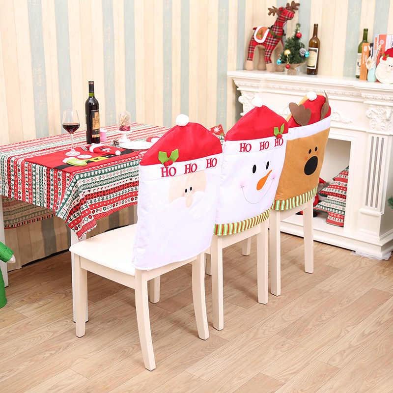 1 шт. Рождественский обеденный чехол на стул олень Снеговик Санта Клаус шляпа украшение стола для домашнего декора DIY рождественские украшения