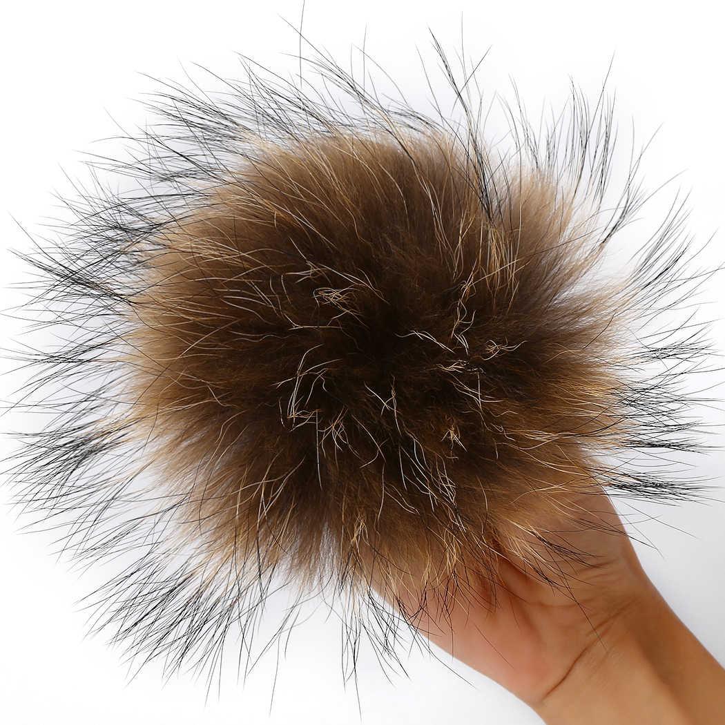 Natural chave da cadeia de bola de pele de guaxinim chapéu de pele de chapéus de inverno pele pom pom para sapatos de pele cap jóias roupas femininas acessórios