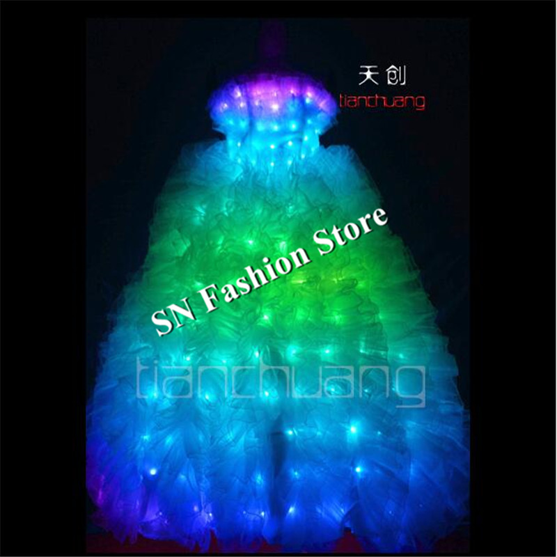 TC-21 Full color LED colorful light ballroom costumes led party RGB skirt wear dance ballet wedding bar dress cloth programming