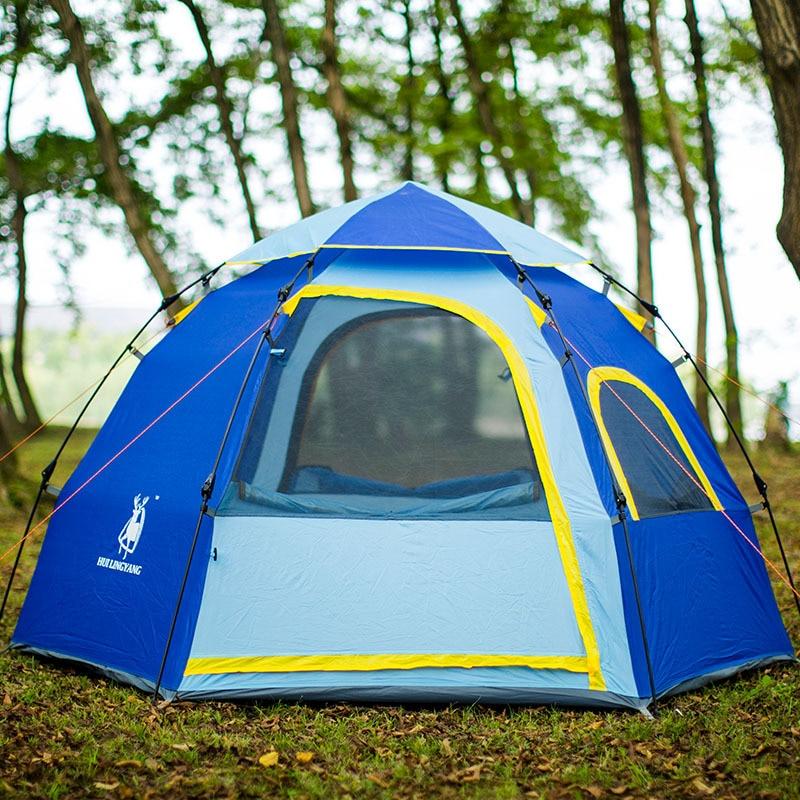Tente de Camping randonnée extérieure imperméable hexagonale 3-4 personnes grande capacité tentes automatique ouverture rapide tente familiale pop up