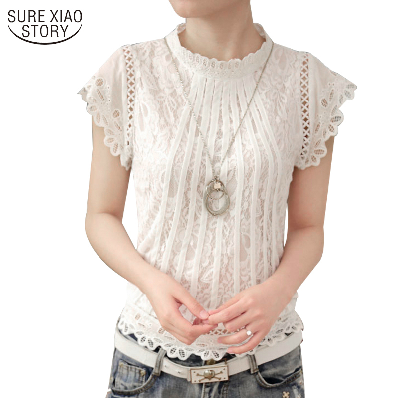 2017 Ladies White Lace Blouse Short Sleeve Stand Collar Women Tops Elegant Patchwork Crochet Women Shirt Plus Size Blusa 01C 20