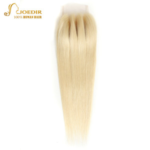 Image 1 - Joedir Hair Brazilian Straight Human Hair Lace Closure With Baby Hair 613 Blonde Color Lace Closure Three Part Remy Hair Weaving