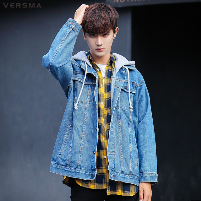 5cf445fd14 Versma spring japanese harajuku oversized hooded denim shirt men shirt long  sleeve hip hop casual denim