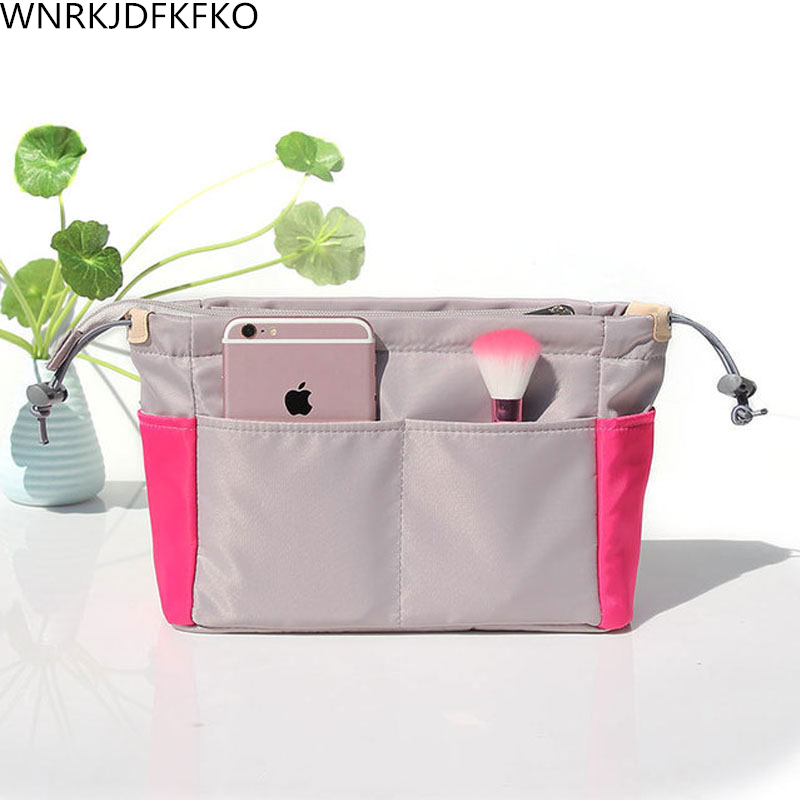 Organizer Insert Bag Women Nylon Travel Insert Organizer Handbag Liner Lady Makeup Cosmetic Bag Cheap Women Tote