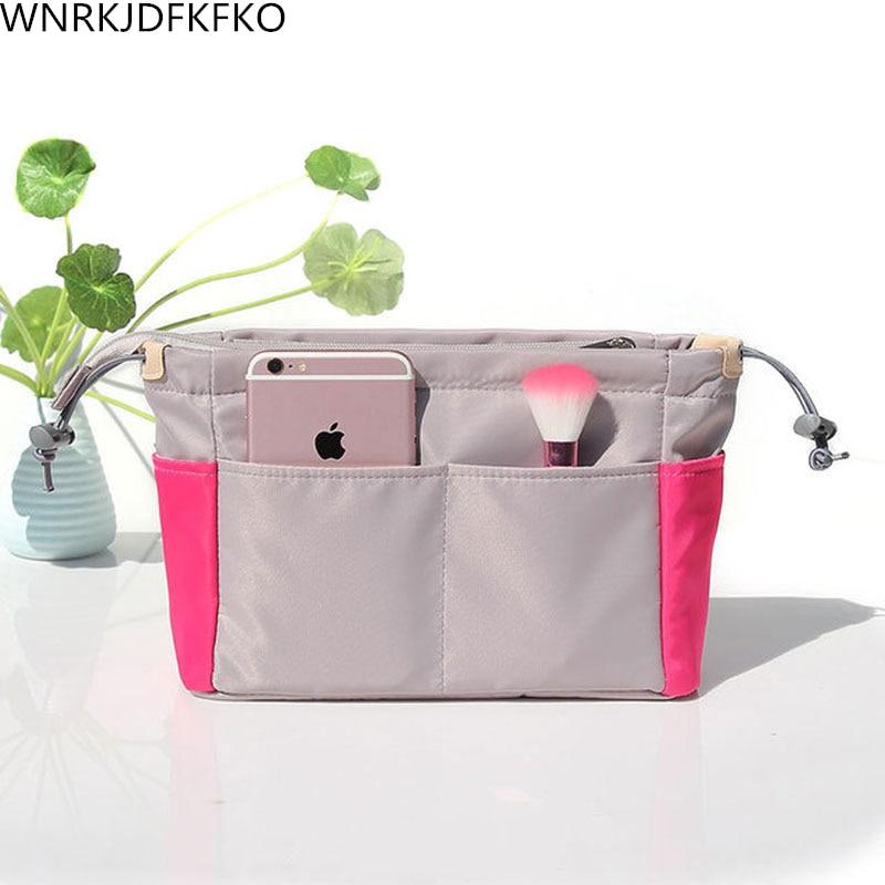 Organizer Insert Bag Women Nylon Travel Insert Organizer Handbag Liner Lady Makeup Cosmetic Bag Cheap Women Tote
