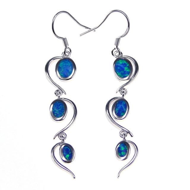 Hot Style Fine Jewelry 100% 925 Sterling Silver Drop Earrings with Blue Fire Opal For Women
