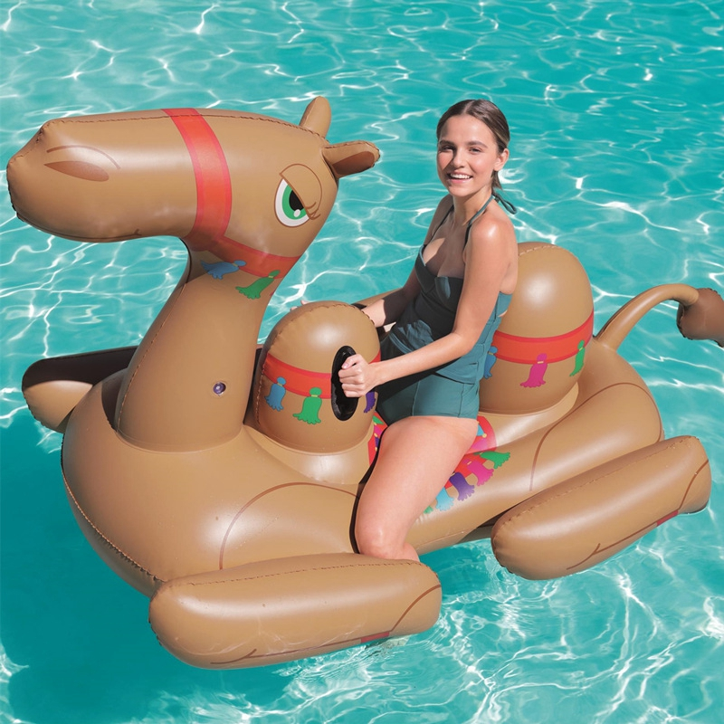 NEW Men Women Giant Inflatable Ride On Camel Pool Floats Animal Ridable Pool Floaties Bed Summer Water Toys Air Raft Bed
